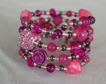Rose Quartz (SU)- Coil Bracelet