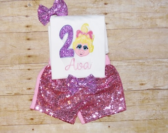 Muppet Babies birthday outfit, Muppet babies birthday shirt, miss piggy birthday outfit, muppet babies invitation, muppet baby shirt, any