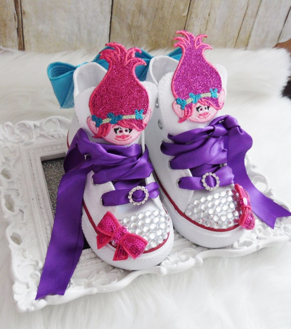 Trolls converse shoes, Trolls birthday shoes, Poppy birthday shoes, Poppy birthday outfit, Poppy and Branch converse shoes, Troll Sneakers