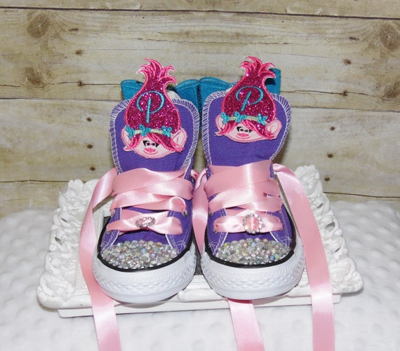 Trolls converse shoes, Trolls birthday shoes, Poppy birthday shoes, Poppy converse shoes, Poppy and Branch converse shoes, Troll Sneakers