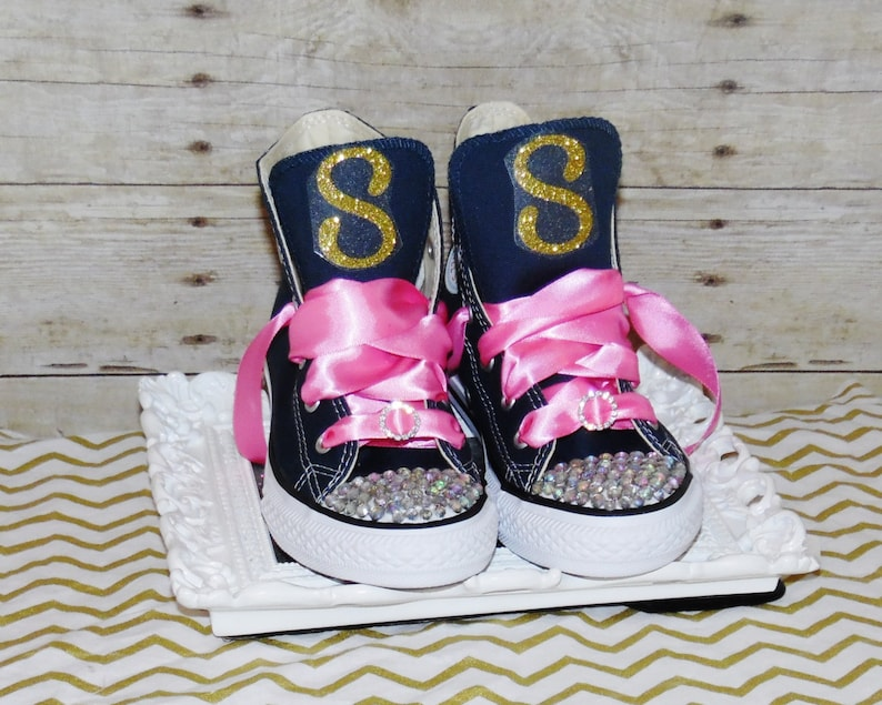 f970ae9c9419c Glitzy Converse Navy, Pair these totally cute comfy shoes with your  designer tutu set!! bling converse, toddler, monogram converse