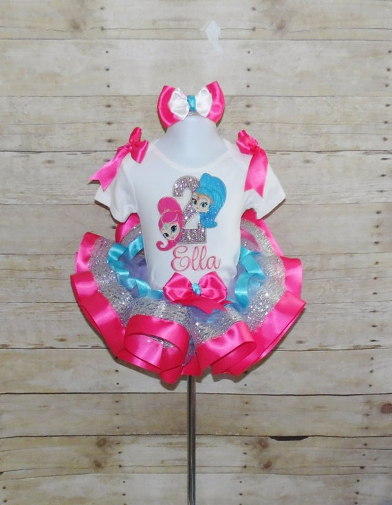 Shimmer And Shine  birthday appliqué With Number /& Name /& Ribbon Trimmed Tutu