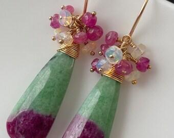 Ruby Zoisite Earrings, 14K Good Filled, Ethiopian Opal, Pink Sapphire, Luxe  Earrings, Gemstone Earrings