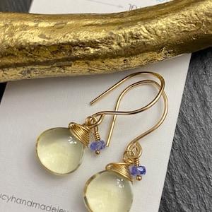 Amethyst Hematite Titanium 14k Yellow Gold Filled Earrings