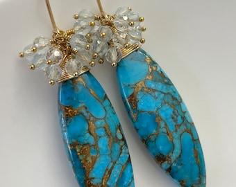 Statement Earrings, Copper Turquoise & Aquamarine Cluster Earrings, 14K Gold Filled Earrings, Luxe Earrings