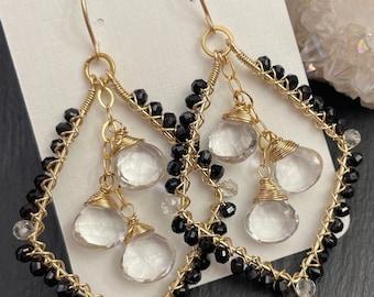 14K Gold Filled Diamond Shaped Earrings, Black Spinel, Rock Crystal Quartz, Boho Luxe Earrings