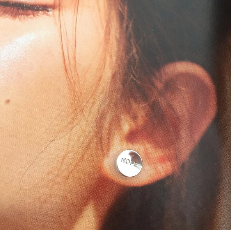 Hope changes everything  earrings handmade in Australia. image 0