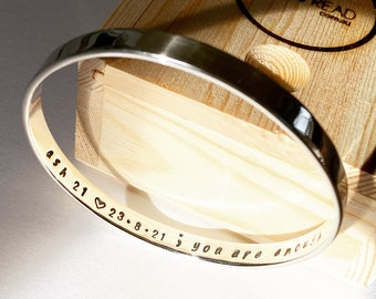 Personalised bangle solid sterling silver bracelet custom made bespoke stamped - Made in Australia