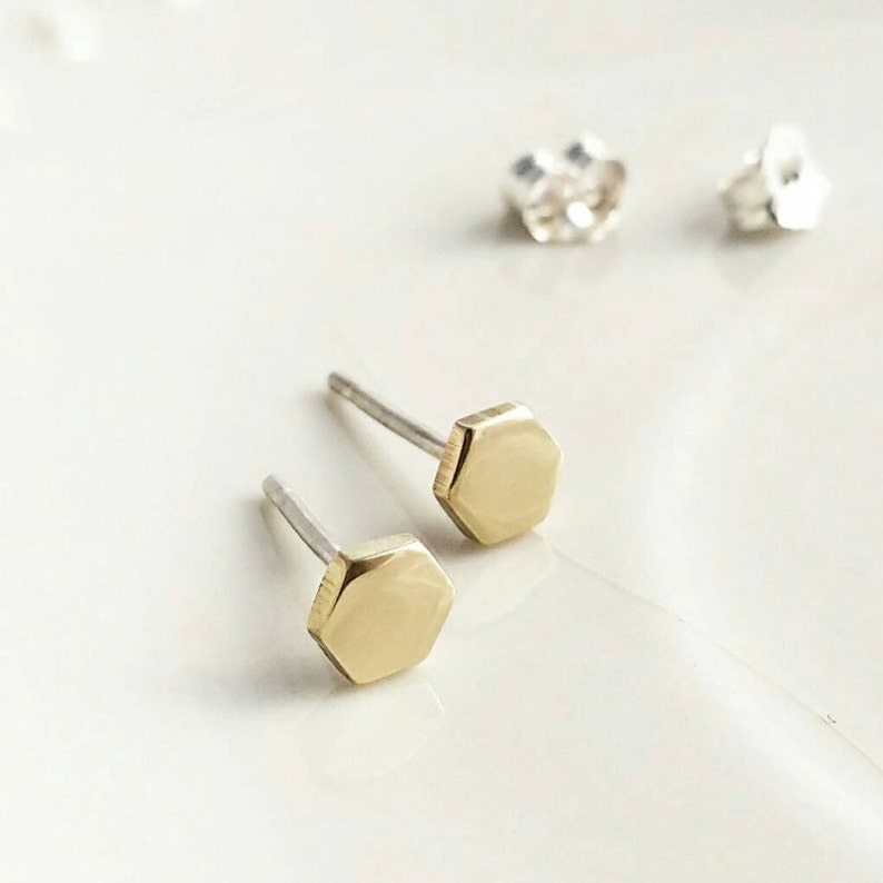Hexagon solid brass and sterling silver stud earrings image 0
