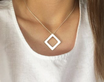 Personalised Diamond necklace Sterling silver square bespoke pendant custom made just for you - Diamonds are forever