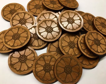 Custom Wood Coins | Wood Tokens | Personalized | Engraved | Bulk | Logo