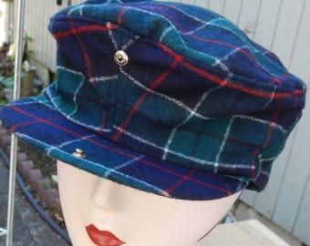 3409648a0fe Vintage Pendleton Navy Green Plaid Wool Cap
