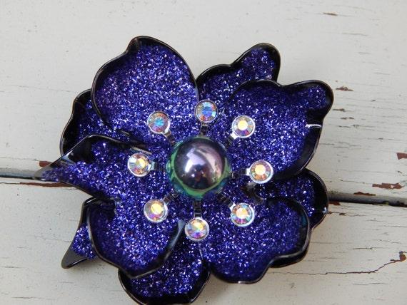 Purple Floral Brooch, Purple & Black Enamel, Auror