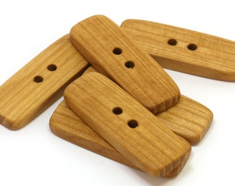 Large wooden buttons. Set of 6 rowan wood buttons size 1.7 inch. Handmade natural wood buttons R9209