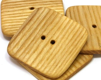 Large square buttons. Set of 4 natural ash wood buttons. Wooden buttons 1.8in / 45mm - S1018