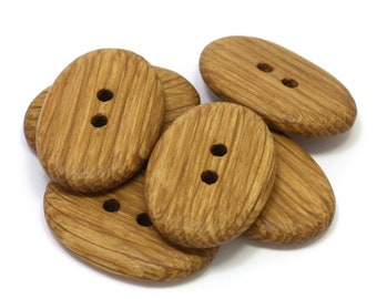 Natural wood buttons. Set of 6 handmade 1.3 inch oak wood buttons. Sustainable wooden buttons. Rustic buttons O3588