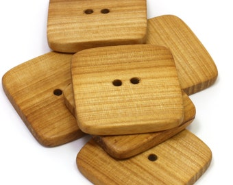 Large wooden buttons. Set of 6 square rowan wood buttons. Handmade natural wood buttons. 1.4 inch / 35mm - R7390