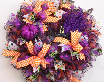 Halloween Wreath, Halloween Mesh Wreath, Purple Orange Halloween Wreath, Witch Broom Wreath, Purple Orange Black Wreath, Halloween Decor