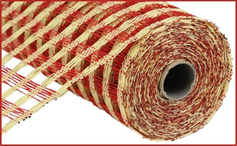 Burlap Mesh Beige and Red Poly Burlap Check Mesh Beige Mesh Craft Supplies Red Mesh Wreath Supplies 10 inch Mesh Mesh for Wreath
