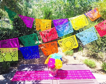Mexico papel picado banner, tissue paper or plastic garland, fiesta party supplies, Mexican party decorations, colorful MEDIUM bunting