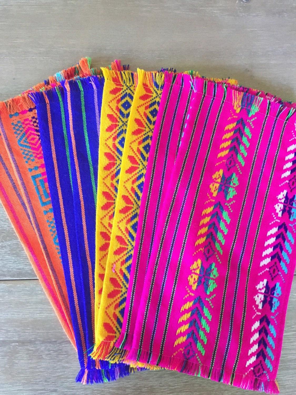 Mexican napkins bulk set of 6. Assorted colors Fiesta decor
