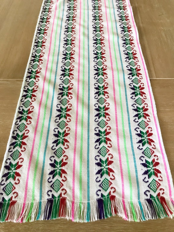 Mexican Table Runner Tablecloth Or Napkins White Star