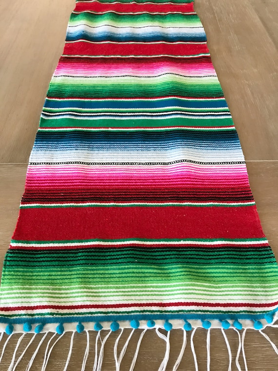 Mexican blanket Serape table runner colorful red   Etsy