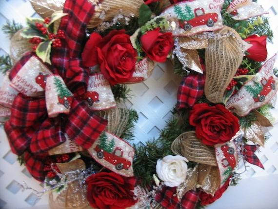 Christmas In Evergreen Truck.Christmas Rose Wreath Red Truck Wreath Christmas Evergreen Wreath