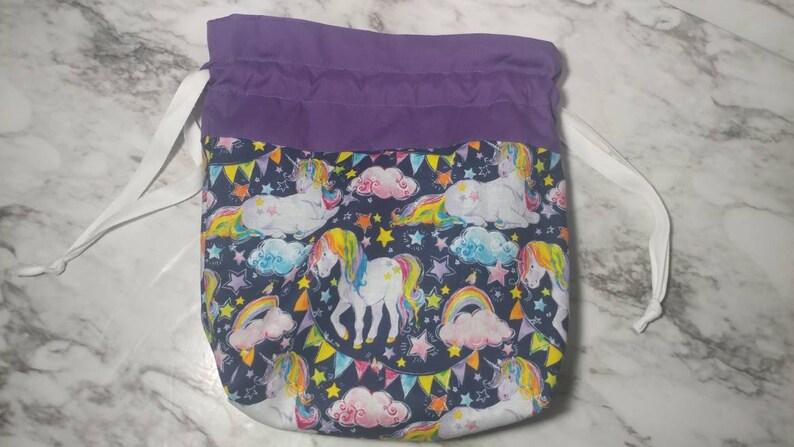 gift bag,makeup bag, purse unicorns,rainbows,tote bag,gift for her Drawstring bag accessories bag