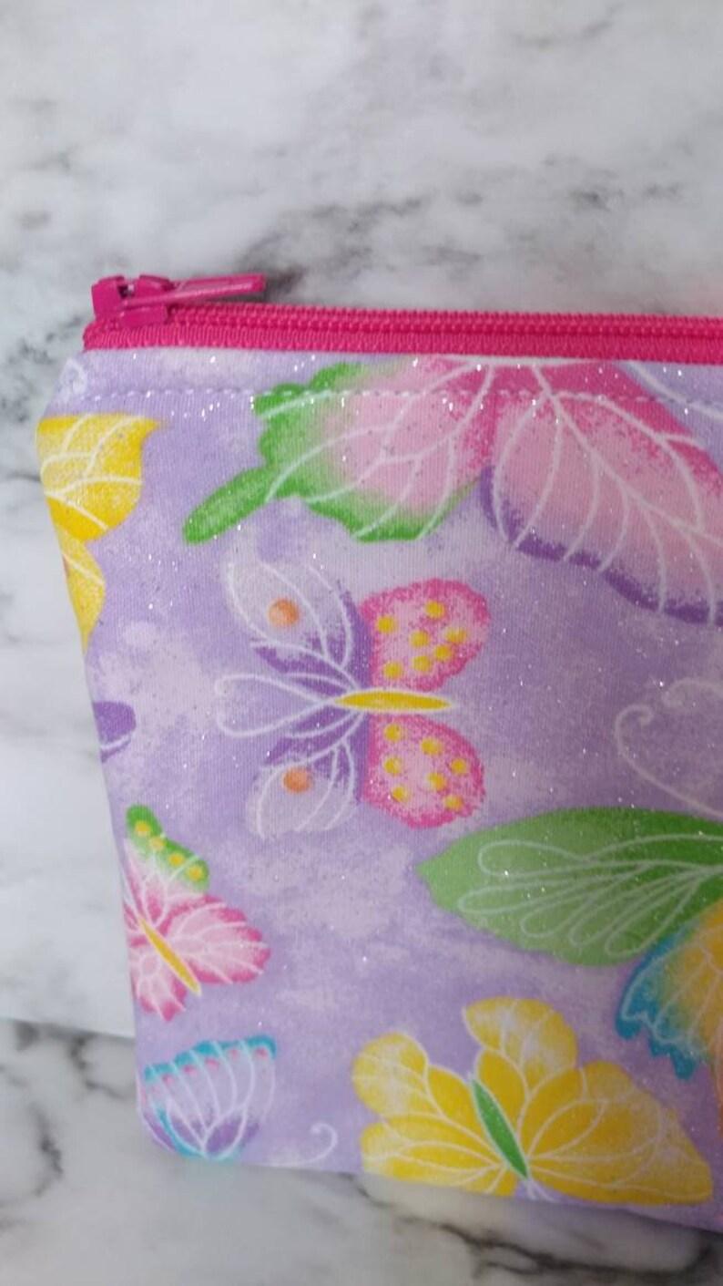accessories bag makeup bag glitter rainbow butterflies,wallet,gift for her school supplies case art supplies case Zippered pouch