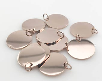 NP-2028 Personalized Stamping Blank Pendant Glossy Rose Gold 15mm Square 4pcs Textured pendant Hammered Metal Blank