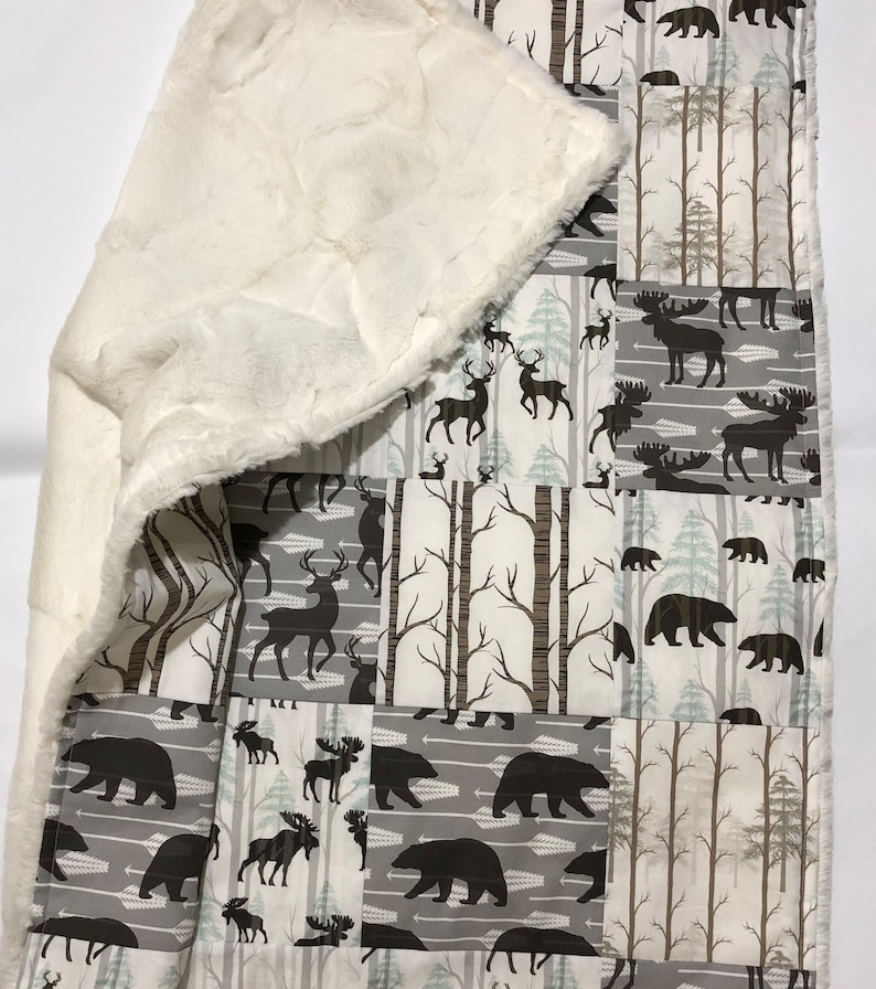 Boy Fitted Sheet Baby Boy Quilt Deer Bear Bedding Baby Woodland Nursery Baby Moose