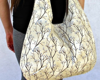 Hobo Bag Purse, Boho Bag, Willow Branches Fabric Tote Bag, Shoulder Bag.