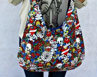 Ed Hardy  Hobo Bag, Blue  Boho Bag, Skull Tattoo Fabric Tote Bag, Over the Shoulder Purse.