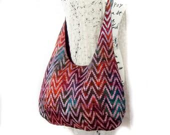 Cross Body Hobo Bag Purse, Burgundy Batik Fabric Tote Bag,  Adjustable Strap Bag.