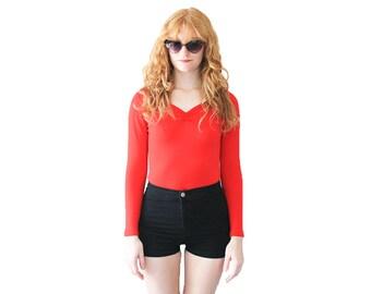 a0c10d42b092 70 s Lipstick Red DANSKIN Long Sleeve Leotard Bodysuit Vintage S