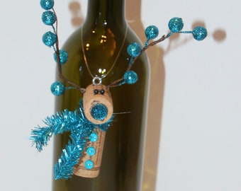 Winter Girl Ornament Recycle Wine Cork Or Bottle Necklace Christmas