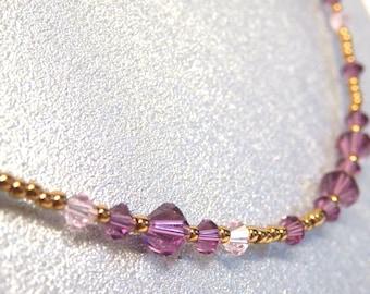 Swarovski Amethyst Crystals and Japanese TOHO beads necklace