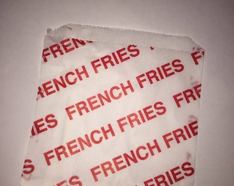 50 French Fry Printed Bags/French Fry Bags/Fry Bags/French Fry Bags