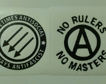 2 Decal set: Anarchy Symbol No Rulers No Masters & Antisocial Antifascist Vinyl Decals