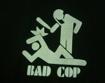Long Sleeve Bad Cop Screen Print T-shirt in Mens or Womens Sizes S-3XL