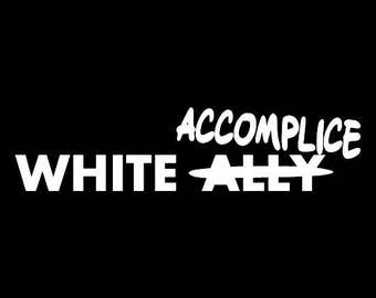 White Accomplice Screen Print Hoodie Sizes S-5XL