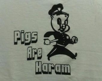 Kids T-Shirt Pigs Are Haram Screen Print in Kids S-L