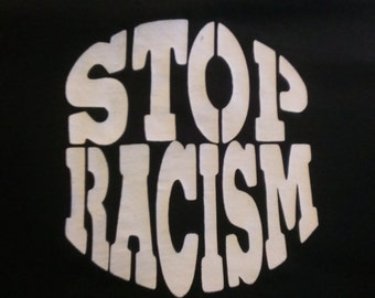Long Sleeve Stop Racism Screen Print T-shirt in Mens or Womens Sizes S-3XL