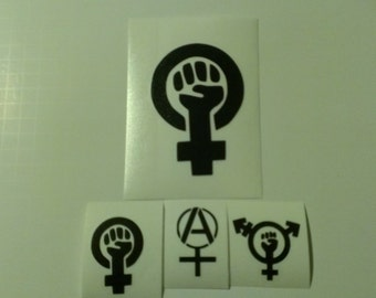 4 Decal set : 1 Large Feminism + 3 Assorted Feminism Decals. Feminism, Trans-Feminism, & Anarcha Feminist Vinyl Decals