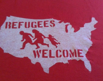 Refugees Welcome Screen Print T-shirt in Mens or Womens Sizes S-3XL