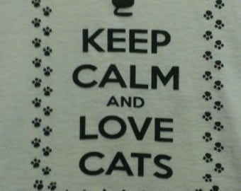 Keep Calm and Love Cats Canvas Tote Bag