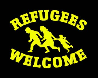 Babies and Toddlers Refugees Welcome Sign Onesie or Tot's Tee in Size Newborn, 6 Months, 12 Months, T2, T3, & T4