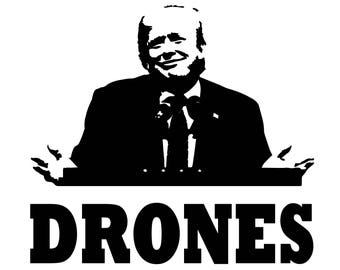 Long Sleeve Trump Drones Screen Screen Print T-shirt in Mens or Womens Sizes S-3XL