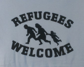 Long Sleeve Refugees Welcome Screen Print T-shirt in Mens or Womens Sizes S-3XL